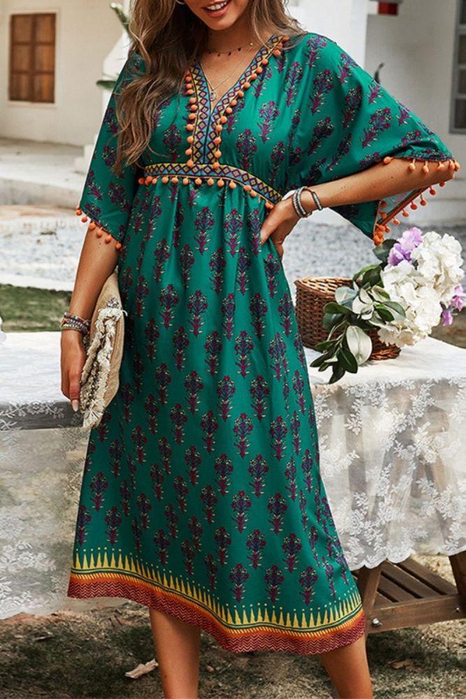 Boho Chic Mujer Tassel Floral Print Summer Dresses Casual Loose Waist Ladies Frocks Vintage Short Sleeve Mid-calf Bohemian Dress