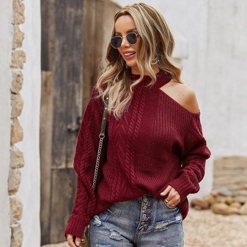 Winter 2021 Off Shoulder Knitted Sweater Mujer Solid Loose Waist Jumper Pullover Thick Thermal Jersey Long Sleeve Knitting Shirt