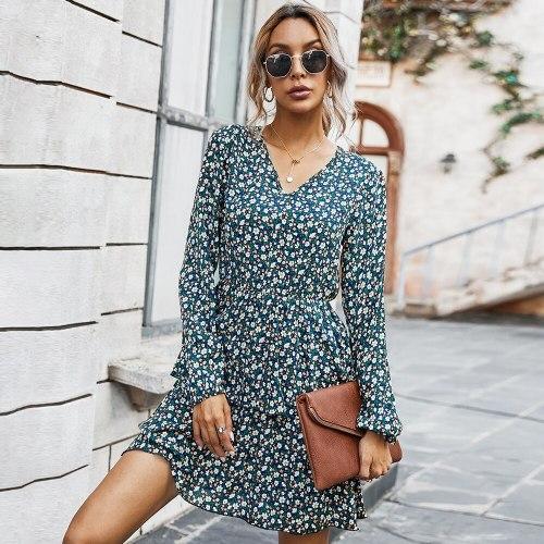 2021 Spring Summer Printing Women Dress Above Knee Outfits Elegant Flower Mini Dresses V-Neck Long Sleeve Women Clothing
