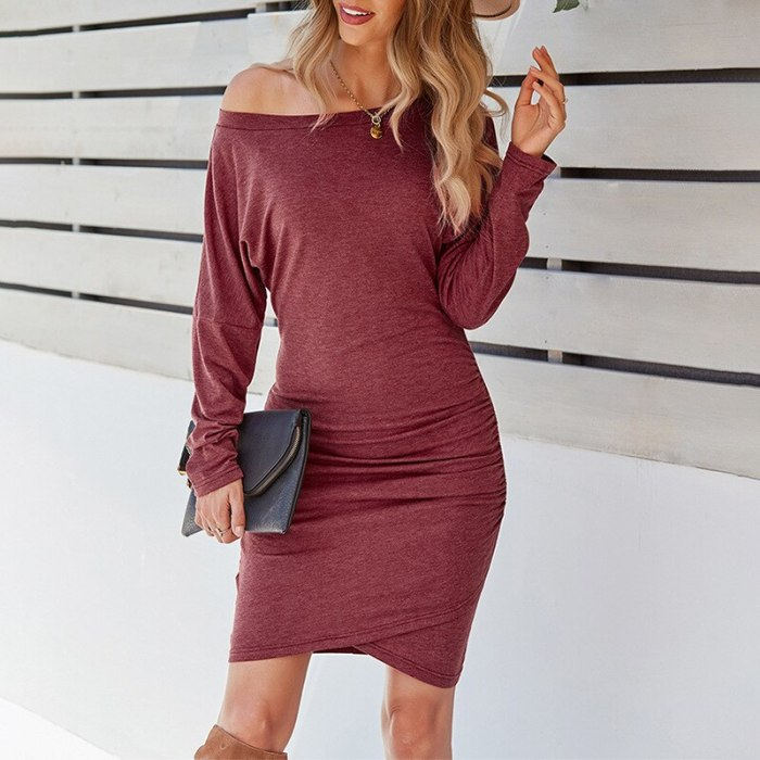 Autumn 2021 Draped Pullover Bodycon Dress Mini Vestido Sexy Elastic Waist Ladies Frocks for Women Casual Solid Long Sleeve Dress