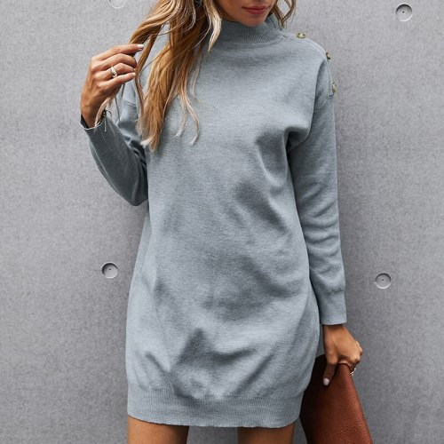 Women Turtleneck Side Buttons Straight Mini Dress Knitted Hedging Thin Solid Dress 2021 Autumn Winter Office Lady Mini Dress