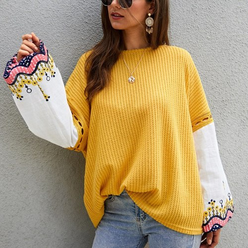 Ladies Autumn Winter Women Sweater Patchwork Casual Warm Jumper Knitted Loose Pullover Women Sweaters Tops Female Pull Knitwear