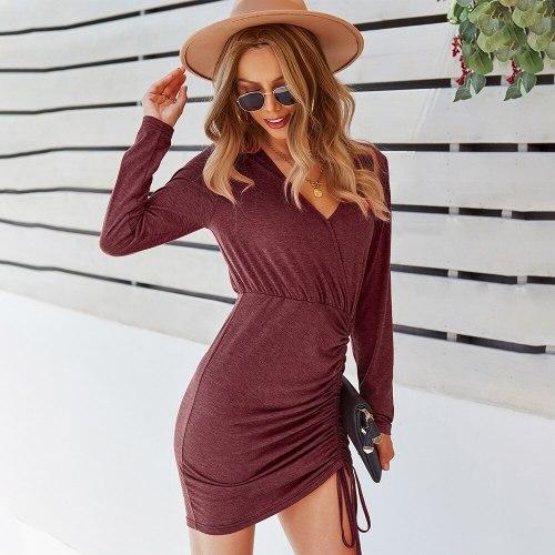 Autumn 2021 Draped Solid Shirred Dress Mini Vestido Sexy Empire Pullover Short Frocks for Women Casual Long Sleeve Bodycon Dress