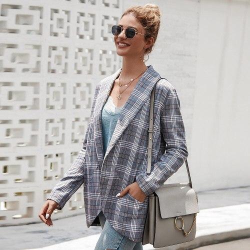 Plaid Woman Suits Office Wear Blazer 2021 Spring Fashion Lapel Elegant Sexy Long Sleeve Design Casual Cardigan Buttonless Blazer
