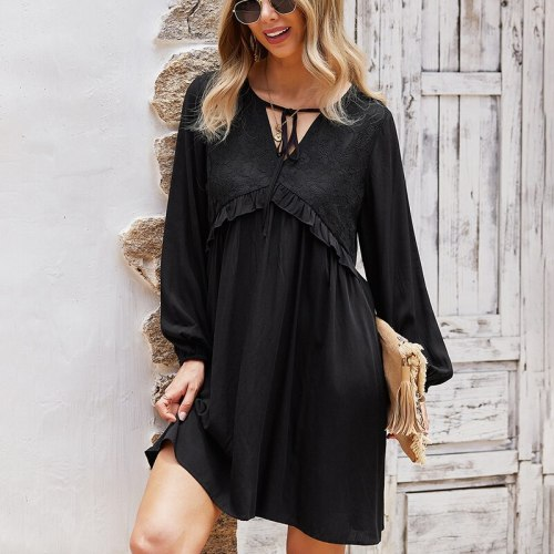 Autumn 2021 Lace Patchwork Elegant Dress Vintage Solid Loose Waist Ladies Frocks for Women Casual Knee-length Long Sleeve Dress
