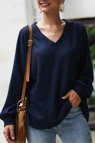 Autumn Sexy V Neck Loose Knitted Sweater Women Oversized Lantern Long Sleeve Pullover Sweaters Lady Knitting Jumper
