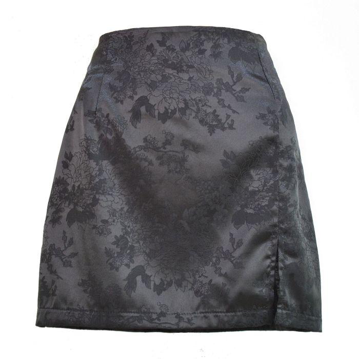 Summer Satin Skirt Womens 2021 Fashion Floral Sexy Side Slip High Waist Short Skirt Female Club Mini Skirts