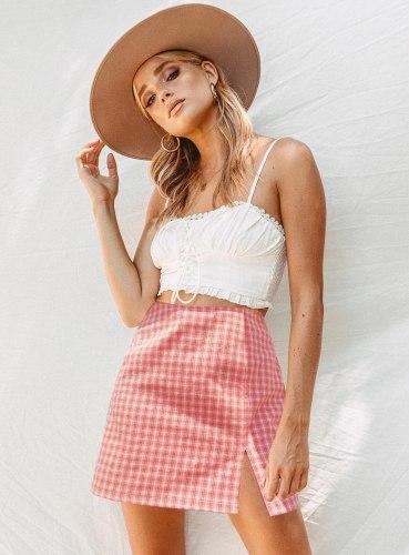 2021 Summer Women's Three Color Mini Plaid Slit Short Skirt Fashion All-Match High Waist Zipper Slim Skirt Freeshipping