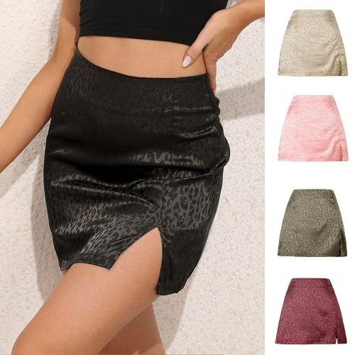 Women High-waisted Elastic Waist Skirt Sexy Faldas Leopard Print High Waist Split Sexy Jacquard Satin Kawaii Summer Mini Skirts