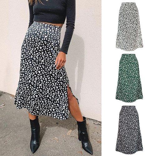 2021 New Sexy Leopard Print Chiffon Split Skirt Casual Fashion Long Skirts for Women Spring Summer Zip Elegant Female Skirt