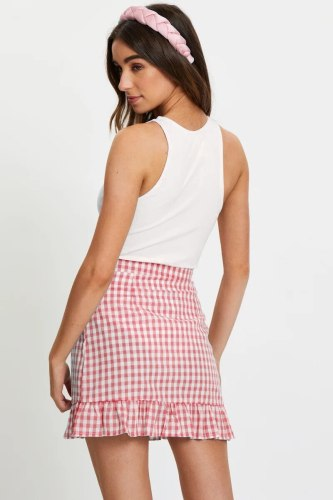 Women's casual high-waist plaid mini skirt ruffled A-line skirt female office work