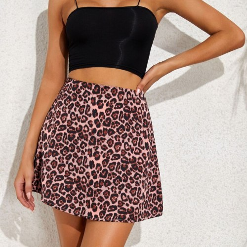 Women High Street Print Back Zipper Sexy Mini High Waist Satin Skirt Ladies Light Soft Casual Slim Chic Floral Leopard Skirt