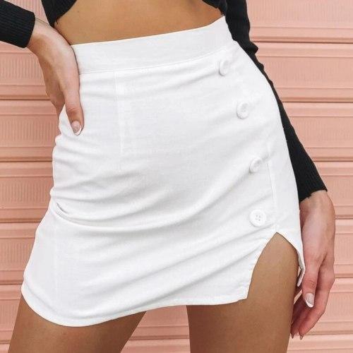 Sexy Bodycon Skirt Women 2021 Fashion Black White High Waist Button Skirts Woman Spring Summer Slim Mini Jupe