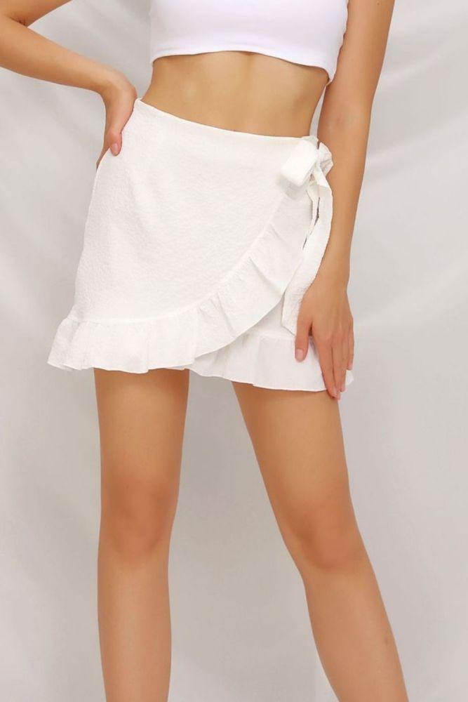 Summer Pure Color Tied Zip Skirts Womens 2021 New Fresh Sweet Irregular Seersucker Lotus Leaf A Line Short Skirt Casual Wear