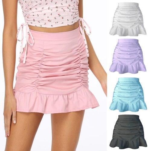 Frilled Ruffle Skirt Women's High Waist Solid Color Fashion All-Match Sexy Bag Hip Fishtail Skirt Trend New Summer 2021