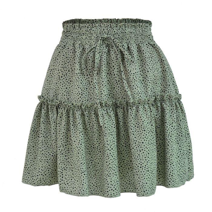 Female High-waisted Chiffon Skirt Fashion Summer Beach Printed Dot Skirt 2021 New High Street Woman Skirts A Line Mini Skirt