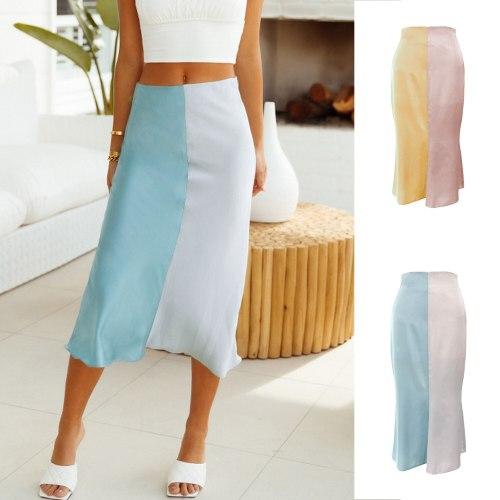 Korean Fashion School Uniform Summer Zippered Satin Color Block Long Skirts Women High-waisted Elastic Waist Skirt Kawaii Faldas