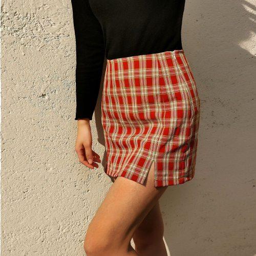 Women Fashion Cotton Plaid Bodycon Skirt Spring Europe Style Split Elegant Chic Skirts High Waist Wild Bottom