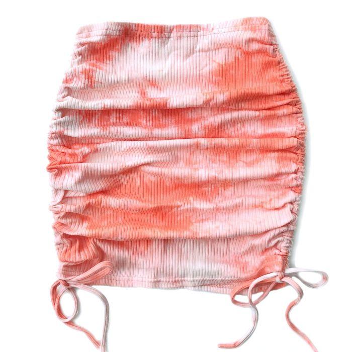 Women High-waisted Elastic Waist Skirt Kawaii Sexy Tie-dye Bag Hip With Ruffle Knit Pit Strip Side Drawstring Summer Mini Skirts