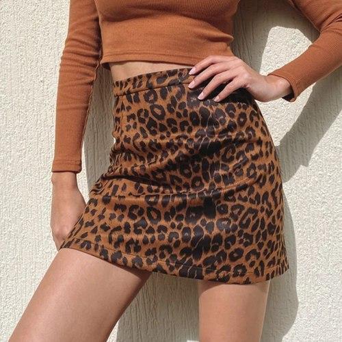 Fashion Women's Leopard Mini Bodycon Skirt High Waist Slim Short Pencil Skirt Spring Autumn Y2k Skirt