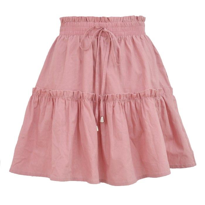 2021 Summer Boho High Waist Elastic Solid Mini Skirt Women Fashion Sexy Casual Lace-up Plus Size Ruffle A Line Skirts Femme