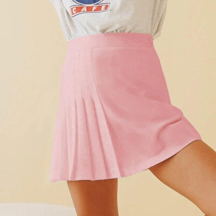Women's Solid Color Pleated Skirts A Line High Waited Asymmetrical Preppy Kawaii Casual Mini Skirt