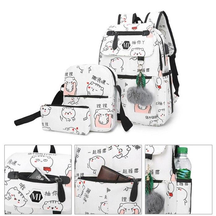 Canvas Backpack 3 Pcs/set Women School Backpacks Schoolbag Book Bag
