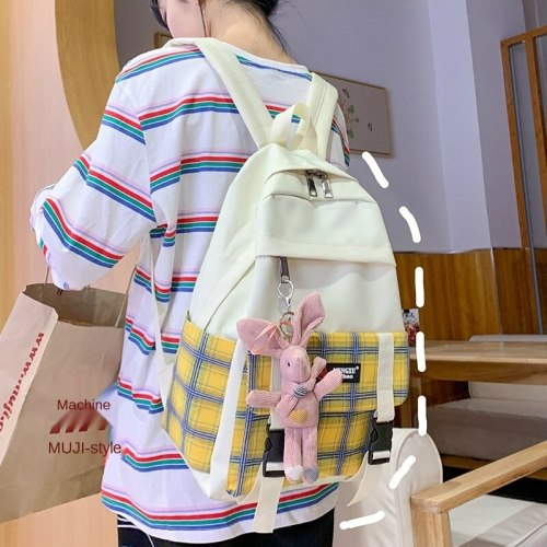 Junior High School Male and Female College Students Makeup Missed Lessons Schoolbag Korean Fashion Contrasting Color Backpack