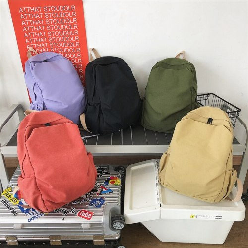 Solid Color Women Backpack High Capacity Travel Bag Female Simple Student School Bag Anti-Theft Canvas Laptop Bag Unisex