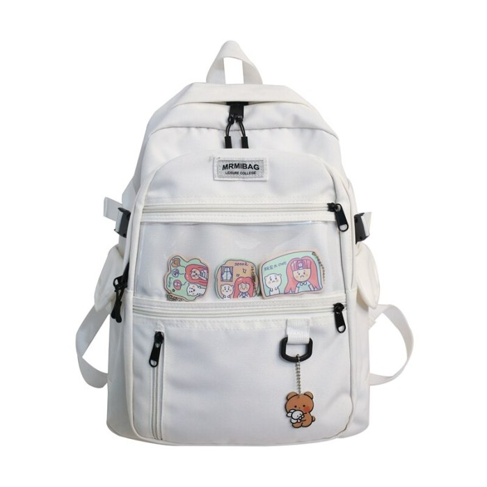 Nylon Waterproof Women Backpack College Style Pure Color Schoolbag For Teenage Girls Cute Casual Travel Backpack Bookbag