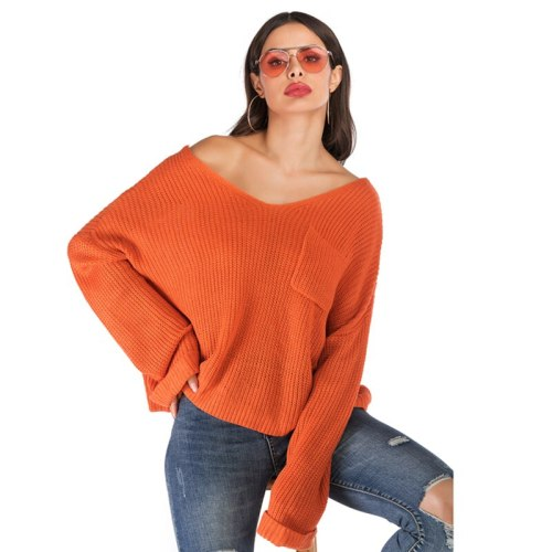4XL Oversized Sexy  Fashion Sweater Women 2021 V Neck Flare Long Sleeve Fall Winter Knitted Sweater Casual Loose Pullover Top