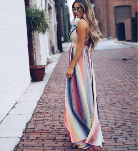 Casual V-Neck Print Sleeveless Vacation Maxi Dress