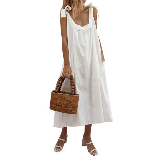 Elegant Sleeveless Ruffle Babydoll Maxi Dress