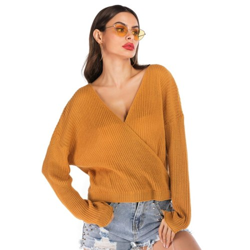 4XL Oversized Sexy Deep V Neck Wrap Womens Winter Swearers 2021 Fashion Backless Knitted Top Loose Casual Fall Sweater Plus Size
