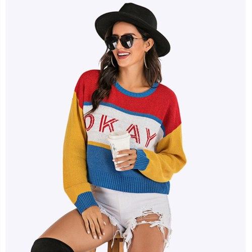 Woman Sweaters Women Pull Femme Oversized Sweater Jersey Mujer Patchwork Dropshipping Streetwear