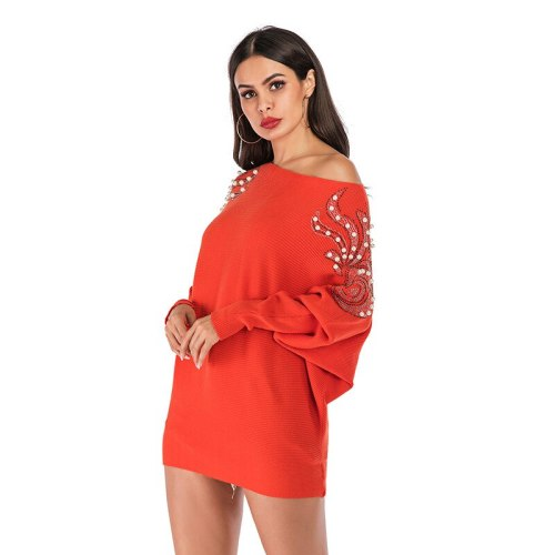 2021 Solid Women Autumn Winter Beading Warm Thick Pullovers Sweaters Batwing Sleeve One Shoulder Casual Loose Jumper