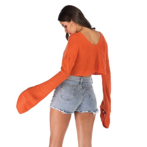 Autumn 2021 new fashion solid color V-neck short pullover knit bottom long sleeve sweater women