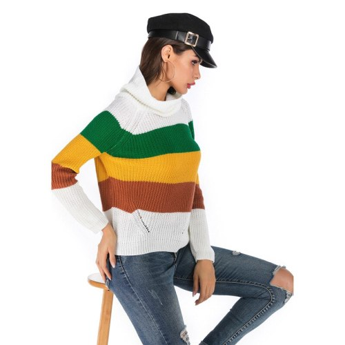 Women's Clothing 2021 Autumn New Europe & America Striped Colour Clashing Stacked Collars Turtleneck Women Long Sleeves Knitwear