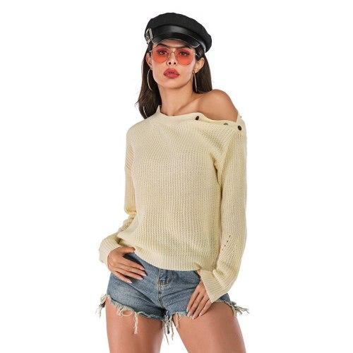 Women's Fashion Sweaters Autumn Winter Female's Long Sleeve Slash Neck Loose Light Thin Casual Knitting Shirts Ladies Tops