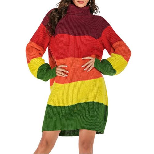Women Long Sleeve Turtleneck Sweater Knitted Causal Loose Pullover Tunic Tops