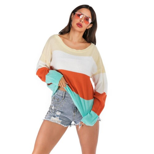 2021 Spring And Autumn Newest Women's Sweater Fashion Trend Loose Knitting Contrast Bat Long-Sleeved Autumn Sweater