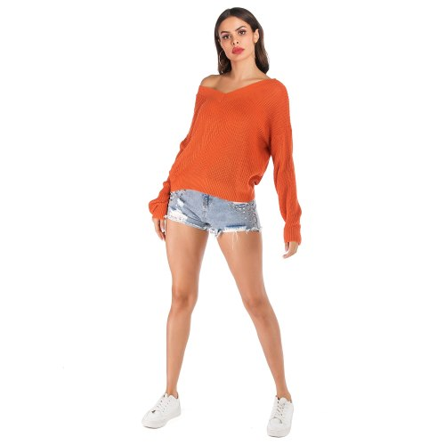 Autumn winter Orange Women knitted sweater Solid color loose casual Long sleeves pullover V-Neck Warm soft female clothes