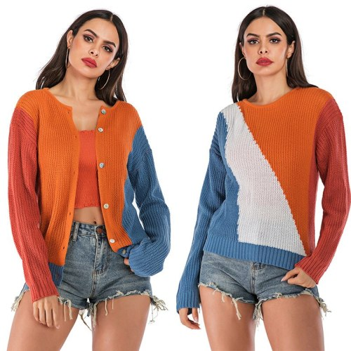 Women's Clothing 2021 Autumn New Europe & America Colour Clash Women Sweater Round Neck Loose Double-sided Wear Cardigan Women