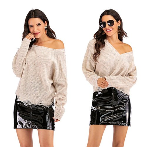 Casual Fashion V-Neck Pullover Loose Sexy Style Women's Sweater Solid Short Sweater For Women Flare Style