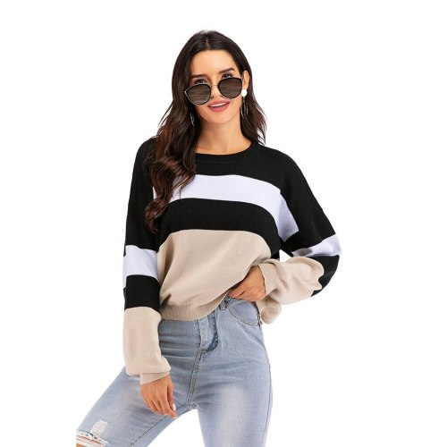 Fashion Women Autumn Winter O-Neck Color Matching Striped Sweater Casual Round Neck Long Sleeve Pullovers Sweater Tops