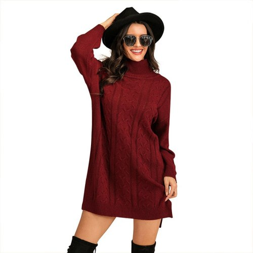 2021 Fall European And American New Women's Mid-Length Sweater Loose Solid Color Knitted Chain Link Flowers High Neck Pullover