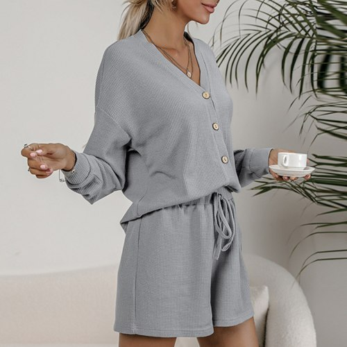 Women Long Sleeve Blouse and Shorts Set V Neck Buttoned Tops Elastic Drawstring Waist Suit Lounging Home Loose Casual 2PCS Kit