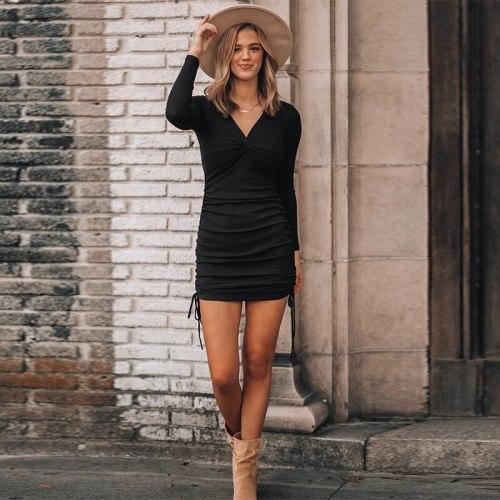 2021 Elegant Fashion Women Long Sleeve Deep Sexy Long Sleeve Slim Elastic Bodycon Shirring Mini Dresses for Women