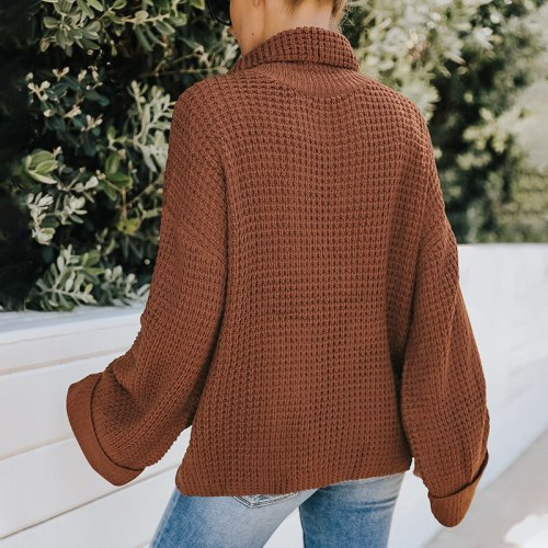 European and American women's 2021 autumn/winter new outer wear high-necked long-sleeved knitted sweater women loose bts goth