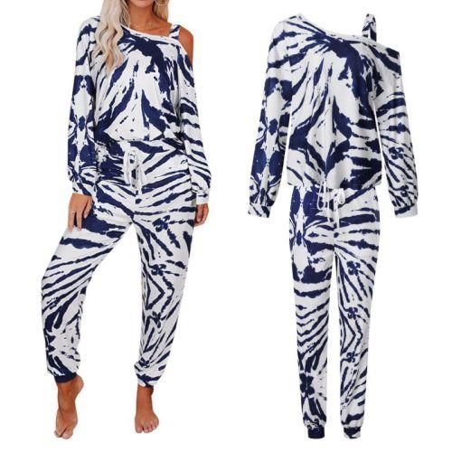 2 Pcs/Set Women Tie Dye Printed Pajamas Suit Long Sleeve Pullover off Shoulder Tops Long Pants Sleepwear Loose Home Loungewear